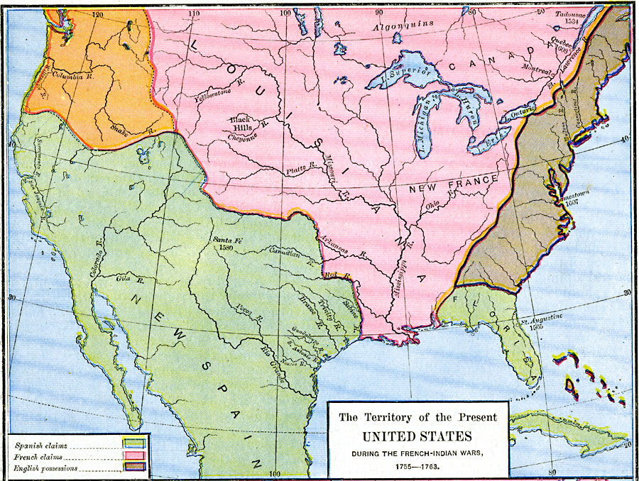 French-Spanish-British-Claims-in-North-America-1755-1763
